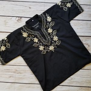 Vintage Embroidered Floral Y Neck Traditional Top